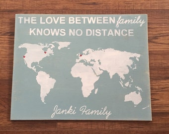 Family Distance Map - Hand painted sign