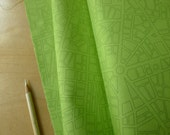 FQ City Map in Lime Green - Barcelona - Zen Chic for Moda - (1) Fat Quarter - Modern Quilting Crafting Cotton Fabric