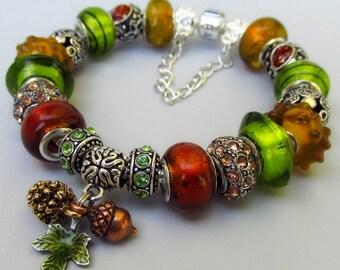 Genuine Pandora Bracelet With Euorpean Style Autumn Treasures Charm And Artisan Murano Glass Beads