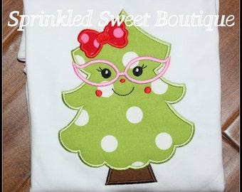 Adorable Nerd  Nerdy Custom Christmas Tree Appliqué Holiday Shirt Girls