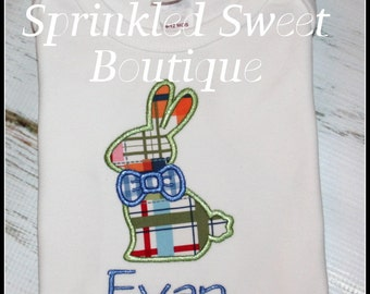 Monogram Boys Bow Tie Bunny Easter Appliqué Shirt or Onsie