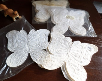 Vintage Lillian Vernon Ivory Linen Butterfly Decorative Lacey Napkins-Table/Spring/Wedding/Easter Serving Table Decor