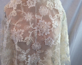 Ivory Lace with 3D Flowers, Bridal Lace, Ivory with Gold Beaded Lace, Vintage Lace (C9)