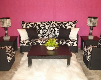 Doll Furniture For Barbie / Monster High / Bratz   Living Room Sofa And 2  Accent Part 37