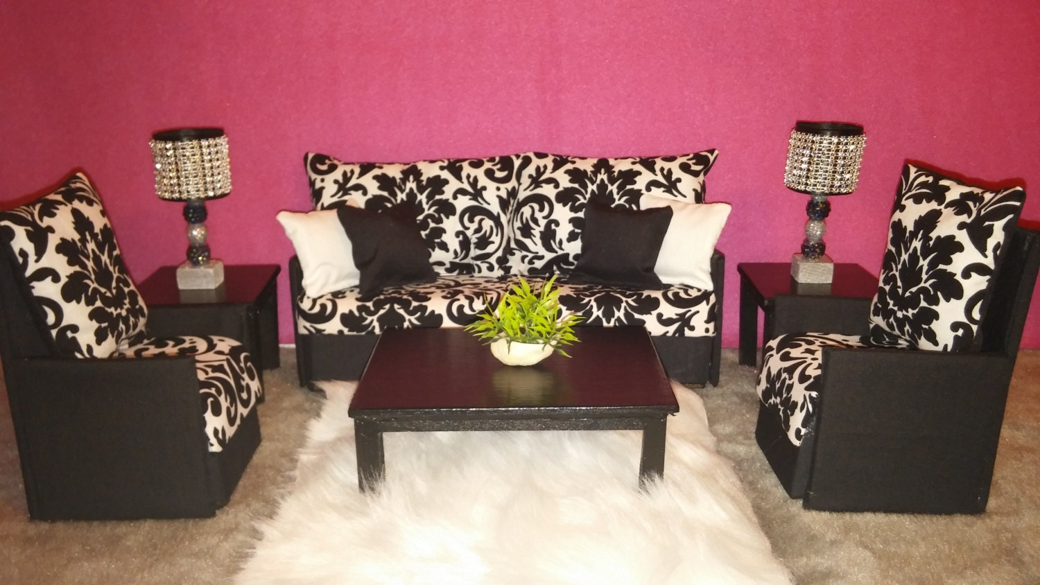 Doll Furniture for Barbie / Monster High / Bratz - Living Room Sofa and 2  Accent - Barbie Living Room Etsy