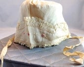 Bonnet, baby girl bonnet, silk with lace bonnet, late 1800s' early 1900s' hand embroidery pink flowers.