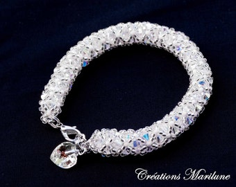 Woven bracelet with Swarovski crystal Mother's day gift