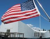 Pearl Harbor Flag Hawaii USS Arizona Memorial United States Flag Print