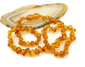 SALE Baltic Amber Baby Teething Necklace - rounded beads - light Cognac #5