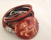 Ceramic Horse Leather Wrap Bracelet, Equestrain Wearable Art, Earthtone Multi Brown 2X Leather Cuff Leather and Silver Pottery Horse Bracele