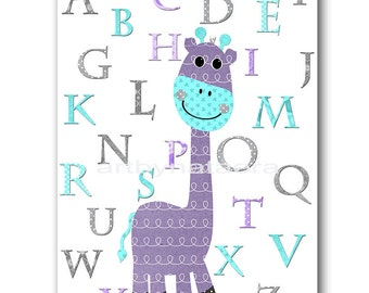 Lavender Gray Aqua Alphabet Nursery Print Giraffe Baby Room Decor Baby Nursery Decor Baby Girl Nursery Decor Kids Wall Art Kids Art