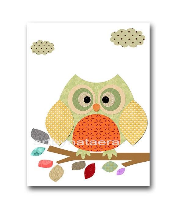Gray Red Green Baby Room Decor Owl Decor Owl By Artbynataera