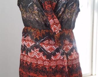 long sleeveless southwestern orange and brown snapfront sheer blouse cardigan