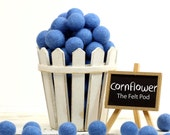 Felt Balls // DIY Garland // DIY Mobile // diy Necklace // Pom Poms // Wool Beads // CORNFLOWER // 1 cm 1.5 cm 2 cm 2.5 cm 3 cm 4 cm