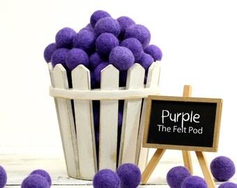 Felt Beads // Felt Ball Garland DIY // diy Mobile // DIY Necklace // Wool Felt Balls // Pom Poms // PURPLE // 1 cm 1.5 cm 2 cm 2.5 cm 3 cm 4