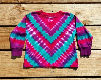 Toddler Tie Dye Chevron Long Sleeve Shirt, 2T 3T 4T, Purple, Pink and Jade, Girls Tie Dye Top