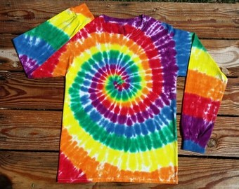 Rainbow Tie Dye Long Sleeve Shirt, Adult S  M  L  XL XXL 3XL 4XL  , Rainbow Tie Dye, Mens Tie Dye, Womens Tie Dye, Hippie Shirt, Plus Size