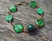 Green Czech Glass and Malachite Gemstone Bracelet on Antiqued Gold