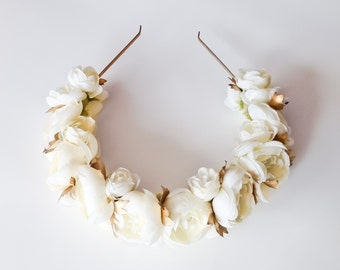 Ivory and gold ranunculus floral crown  - gold flower crown - floral headband - ivory floral headpiece - gold floral headpiece - boho floral