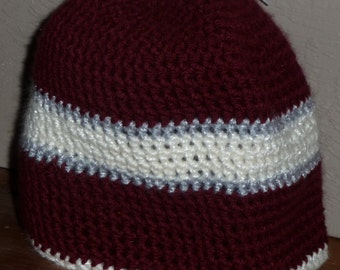 Maroon with White Simple crochet Beanie hat  Latvian flag colors
