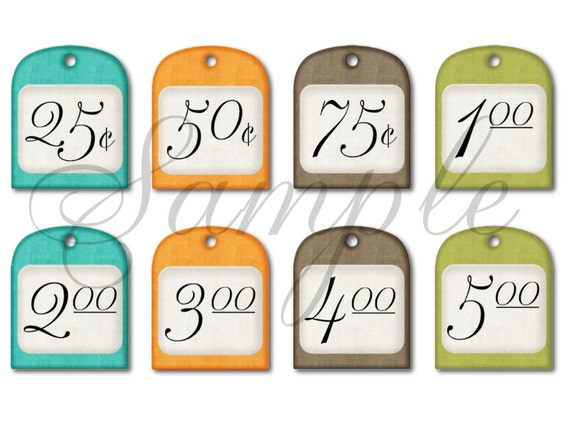 Monster image with garage sale price tags free printable