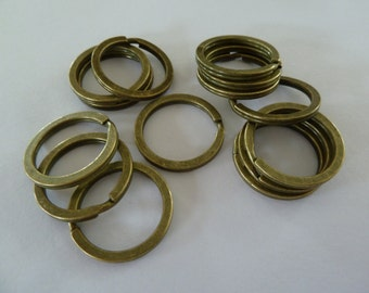 10 x 25mm split ring/key rings - Antique bronze