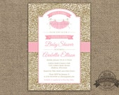 Gold and Pink Baby Shower Invitation - Tutu Cute - Gold Glitter Effect - ANY colors - Tutu Party Shower or Birthday - Pritable - Ballerina