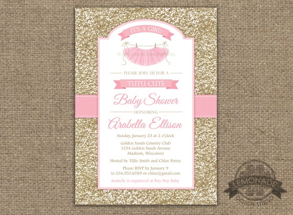 Preferred Tutu Cute Baby Shower Invitation, Gold Pink Baby Shower Invitation  TN43