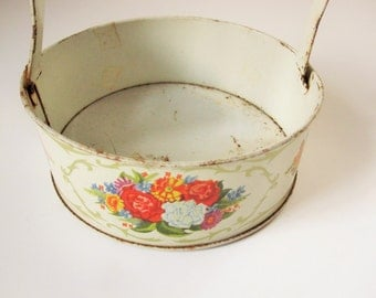 Vintage Lithographed 'Basket With Swinging Handle - Hang It Up - Bright, Cheery Flowers Against Off-white - Gold Swirls -  For the Shelf
