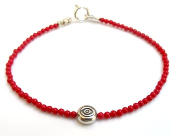 Sterling silver evil eye natural small red coral bead bracelet natural gemstone silver amulet for good luck and protection