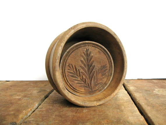 Antique butter mold with wheat stamp round