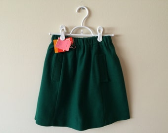 60s Girls Emerald Green Wool A-Line Skirt, NWT, Size 10 to 14