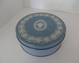 Blue Flowered Tin Can