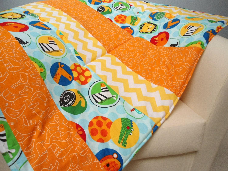 Baby play mat padded floor blanket chevron animals quilt boys for Floor quilt for babies