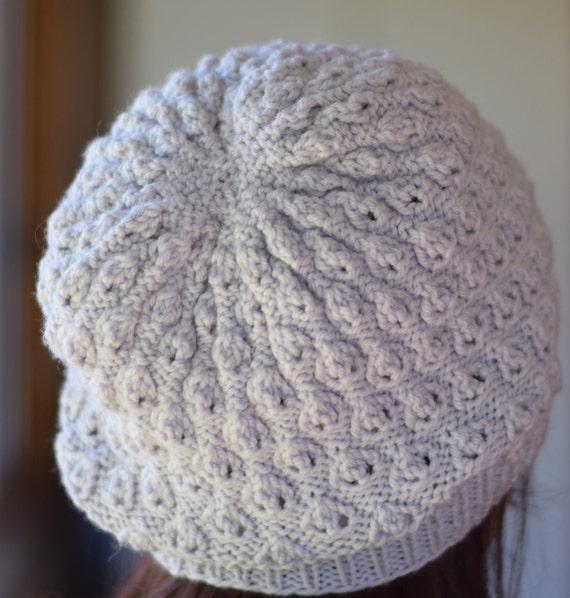 Baby Sweater Knitting Patterns Free : Textured Lace Knit Hat Pattern - LINDEN SLOUCHY Hat Knitting Pattern PDF - Di...