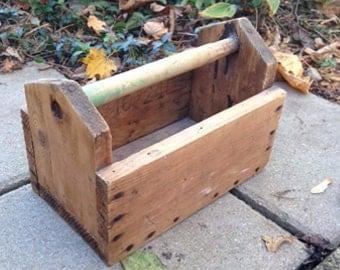 wooden tool box etsy. tool box, wooden wood caddy, primitive farm box etsy