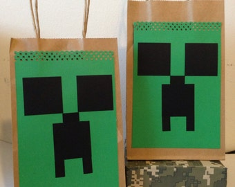 Pixel creeper goodie bag/ pixel party /Mine -craft favors/