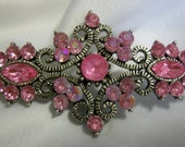 Victorian Inspired Silver Tone and Pink Rhinestone Brooch Pin | Unsigned | Vintage