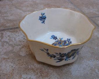 Lenox Candy Dish Vintage BonBon Dish PAGODA Pattern Blue Flower Miniature Bowl w 24K Gold Border