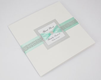 Wedding Guest Book - Personalized - mint, silver