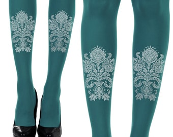 Paisley print tights \ turquoise tights \ free shiping