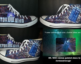 Dr. Who Galaxy Time Traveling Tardis Doctor Who Custom Painted Shoes Converse Vans Toms