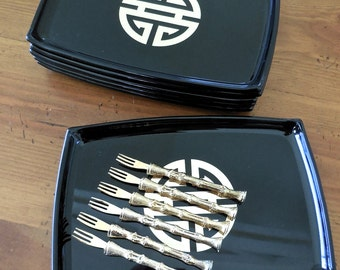Vintage 50s Appetizer Plates and Forks in Black and Gold Asian Design with Gold Plated Bamboo Forks Set of 6 Mid Century