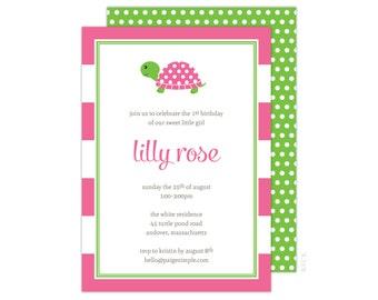 Turtle Party Invitation (Turtle Birthday Invitation, Girls Turtle Party, Pink Turtle Invitation, Pink and Green Invitation, Preppy Turtle)