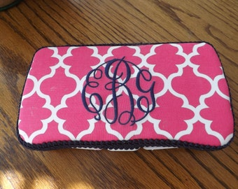 A decorated travel wipes case / Monogram makes it a great gift / Baby shower item /Diaper bag / personalized gifts /