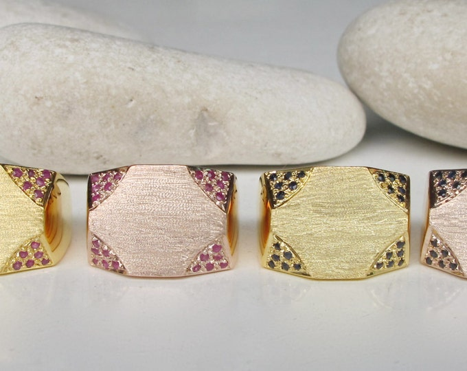 Statement Rings for Her- Ruby Ring- Sapphire Ring- Birthstone Ring- Gemstone Ring- Rose Gold Ring- Minimalist Ring- Geometric Ring- Rings