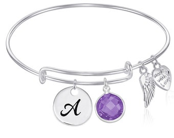 INITIAL Expandable Wire Bangle Bracelet with FEBRUARY Birthstone Charm and Angel Wing Charm Silver Finish
