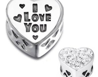 I LOVE YOU HEART Charm Bead 925 Sterling Silver Fits  All European Charm Bracelets