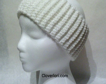Crochet Ribbed Headband -White Sparkle, Sparkly- Ear Warmer, Fall and Winter Accessory, Teen, Adult, Women, Christmas, Holiday