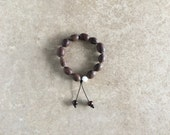 Indian Lotus Seed Wrist Mala with Dark Tibetan Yak Bone